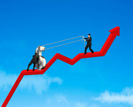 contend: Businessmen moving up 3d money symbol on growing red arrow blue sky background Stock Photo