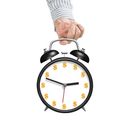 hooking: Hand hooking alarm clock with money face isolated in white background Stock Photo