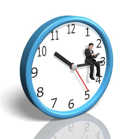 dispassionate: Businessman sitting on clock hand in white background Stock Photo