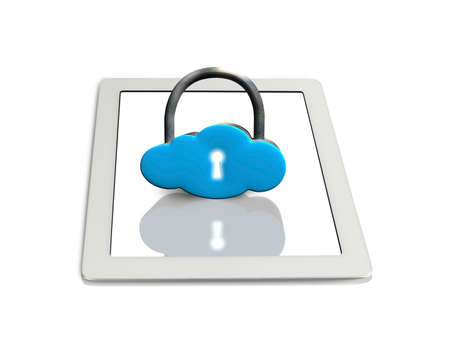 Cloud shape lock on tablet isolated in white background photo