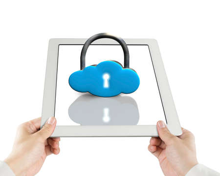 Cloud shape lock on tablet isolated in white photo