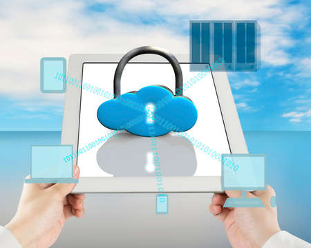 Cloud shape lock on tablet with computing devices blue sky background photo