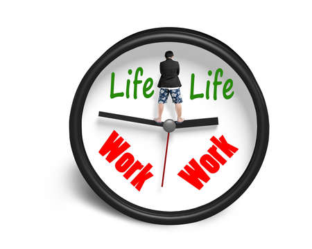 Standing on clock hands with work and life face whte background photo