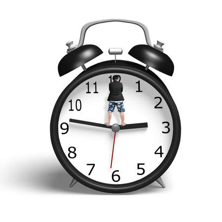 Standing on hands of alarm clock in white background photo