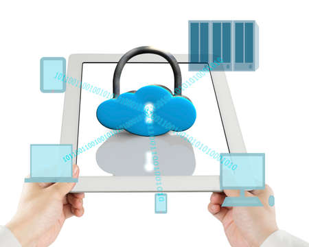Cloud shape lock on tablet with computing decives white background photo