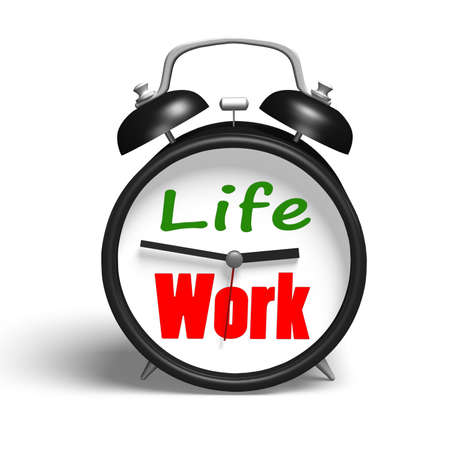 Alarm clock with life and work face in white background photo