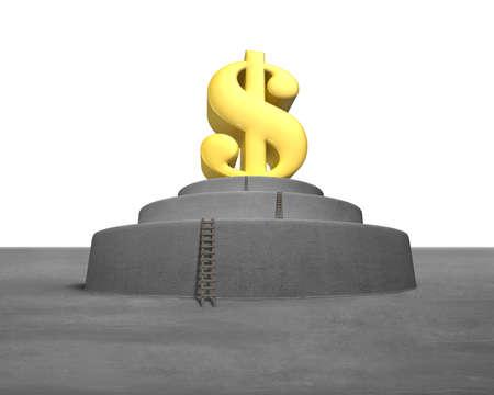 Large money symbol on concrete podium with wooden ladders photo