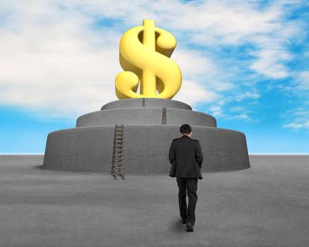 Walking toward large money symbol blue sky background photo
