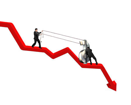 conquer adversity: Moving up money symbol on going down red arrow Stock Photo