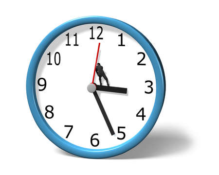 contend: Stopping clock hand in white background Stock Photo