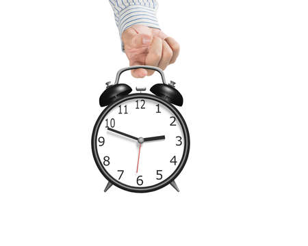 hooking: Hand hooking alarm clock in white background Stock Photo