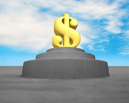 Large building with money symbol on top blue sky background photo
