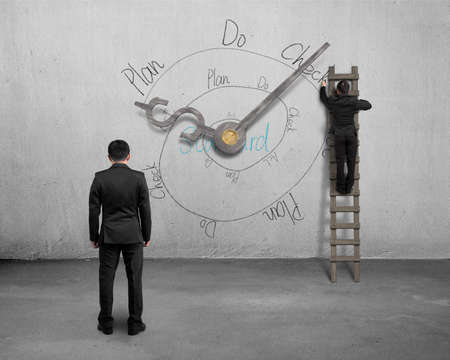 PDCA infinite loop doodle on wall with clock hands and businessmen photo