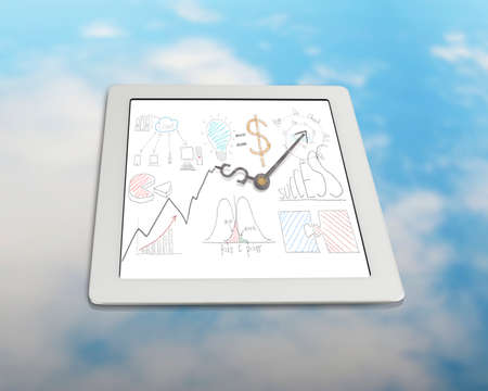 Business drawing with clock hands on tablet with sky reflection table photo