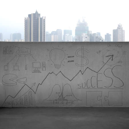 Business concept doodles on concrete wall with city  photo