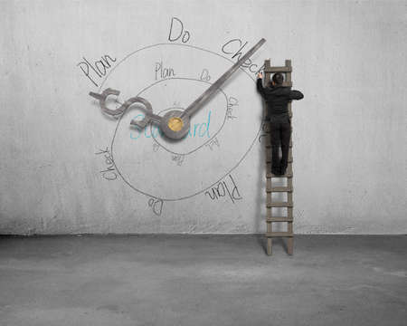 businessman on ladder drawing PDCA loop with clock hands on wall photo
