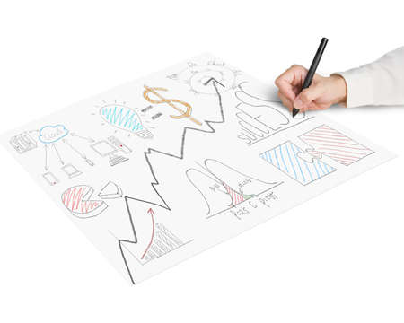 Sketching business concept doodles on paper isolated in white photo