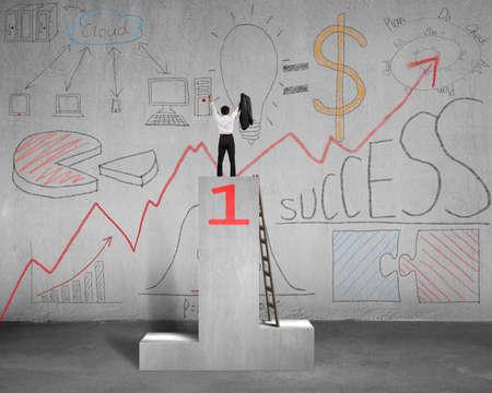 correspond: Cheered on concrete podium with business doodles