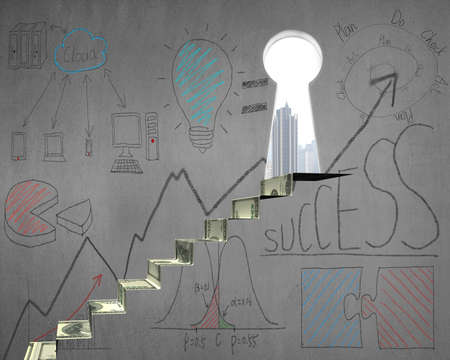 Money stairs with business doodles and key door on concrete wall photo