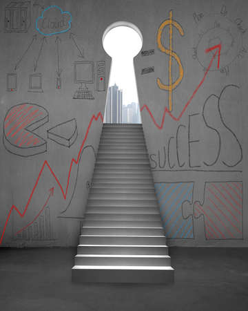 Stairs with business doodles and key shape door on concrete wall 스톡 콘텐츠