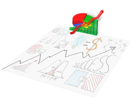 3D chart with business doodles on paper isolated in white photo