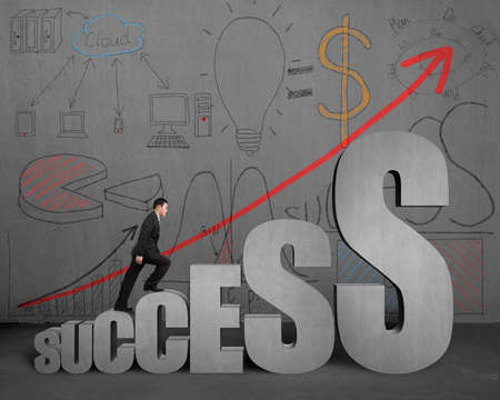 concrete stairs: Businessman walking on success stairs with business doodles on concrete wall Stock Photo