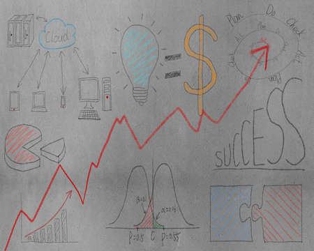 Business concept doodles on concrete wall background photo
