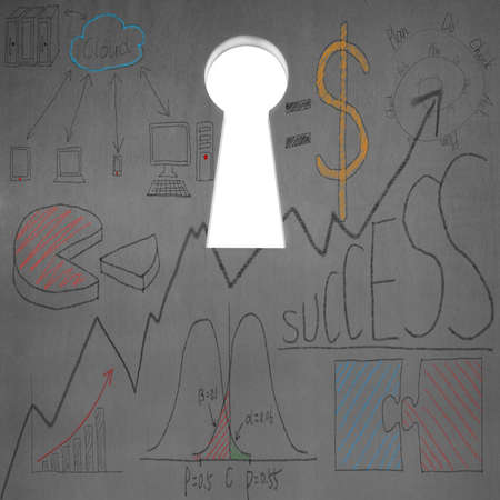 Business doodles with key shape door on concrete wall Stock Photo
