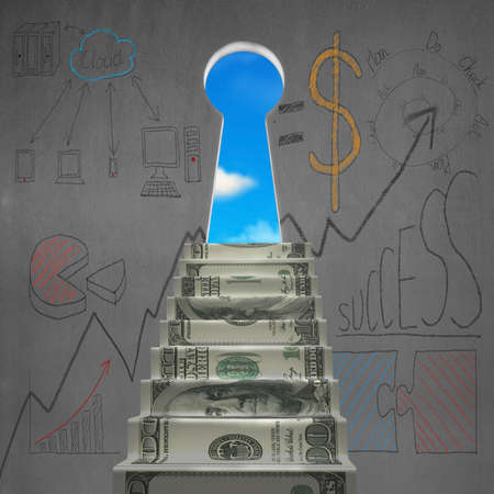 Money stair to key shape door with business doodles on concrete wall Stock Photo