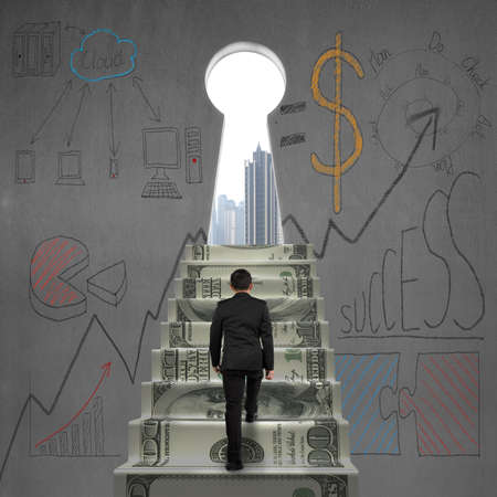 Businessman walking on money stairs to key shape door with business doodles