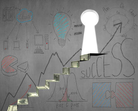 concrete stairs: Money stairs to key shape door with business doodles on concrete wall