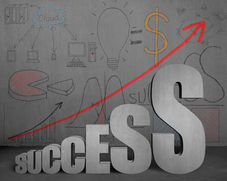Success growing trend with business doodles on concrete wall photo