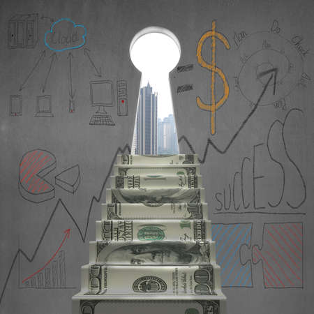 Money stairs to key shape door with business doodles on wall photo