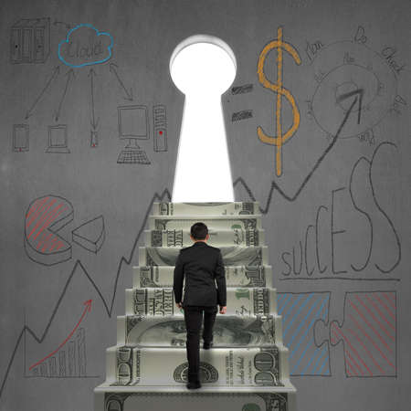 Man walking on money stairs to key shape door with business dooles on wall