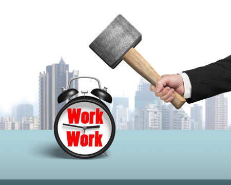 Using hammer hit clock with work face city view background photo
