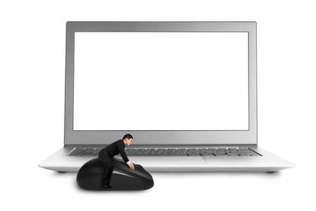 Riding on mouse with blank screen laptop isolated in white background photo