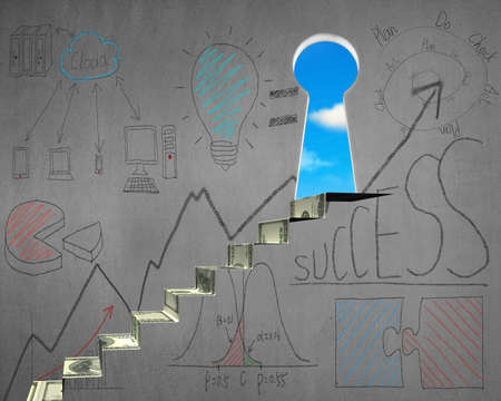 Key shape door and business doodles on wall with money stairs photo