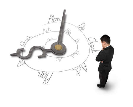 businessman facing clock hands with PDCA loop doodles photo