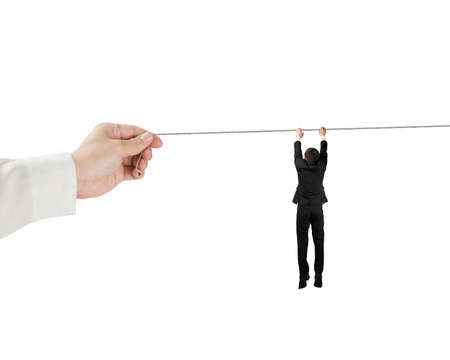 Man Holding and hanging on rope isolated in white photo