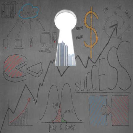 key hole: Key hole with business doodles on concrete wall