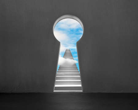 concrete stairs: Key shape door on wall with concrete stairs and blue sky outside