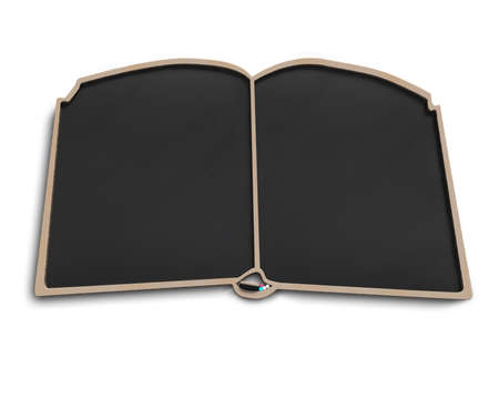 Book shape blackboard in white background photo