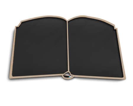 Book shape blackboard in white background photo