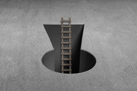 key hole: Key shape hole with wooden ladder on concrete ground