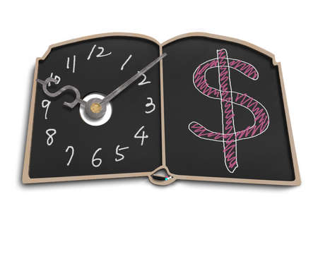 Clock face with money symbol doodles on blackboard in white background photo