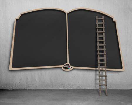 Large blank blackboard in book shape with wooden ladder photo