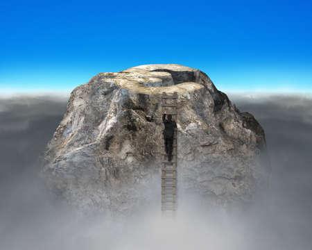 financial cliff: Businessman climbing to top of euro symbol shape rocky mountain