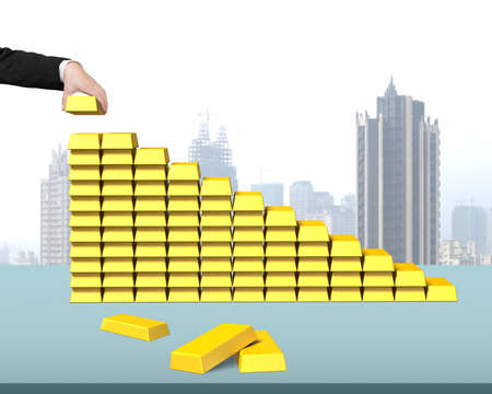 stacking: Stacking bullion in stairs shape with city view background