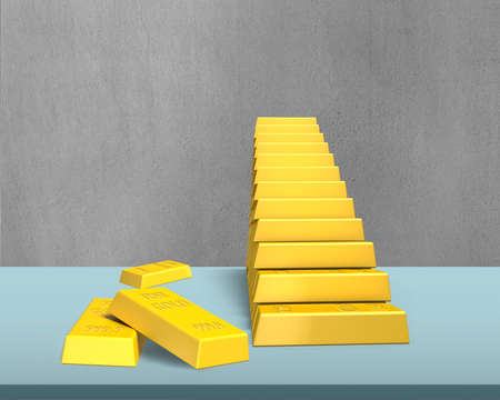 stacking: Bullion stacking in stairs shape on desk in office Stock Photo