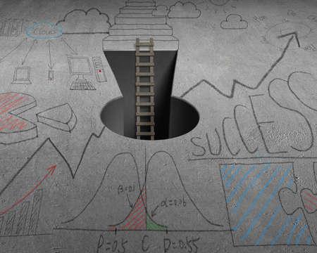 key hole: Wooden ladder with key shape hole on concrete ground